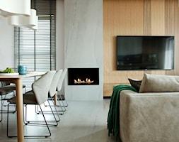Apartament w pastelach - Średni biały salon z jadalnią, styl nowoczesny - zdjęcie od Interno - Homebook