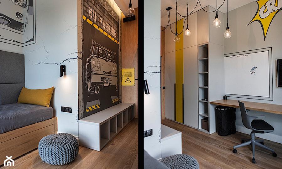 Atrium Park 110m2 - Średni szary żółty czarny kolorowy pokój dziecka dla chłopca dla nastolatka, styl nowoczesny - zdjęcie od Interno