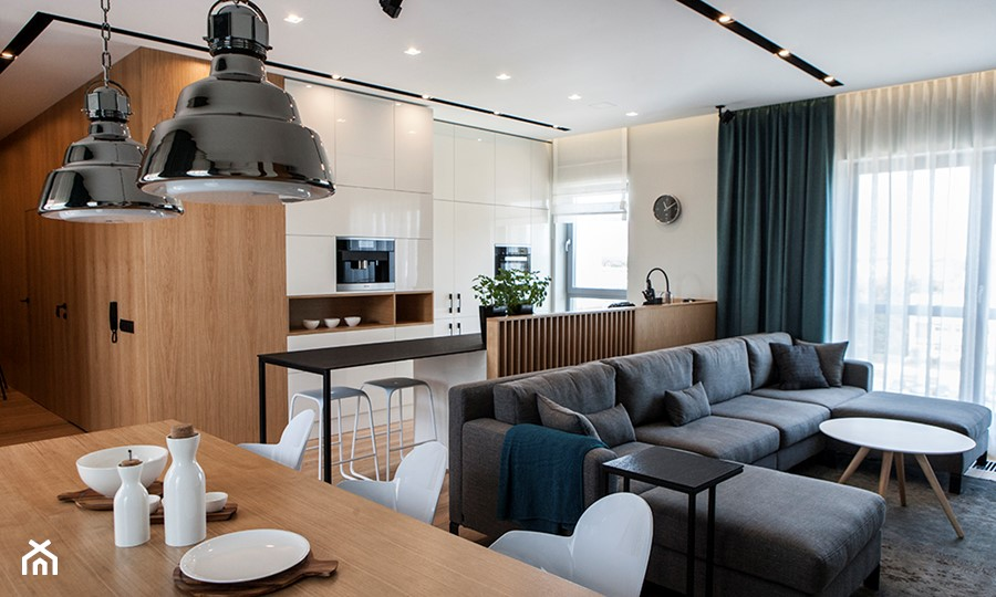 Atrium Park 110m2 - Średni biały salon z kuchnią z jadalnią, styl nowoczesny - zdjęcie od Interno
