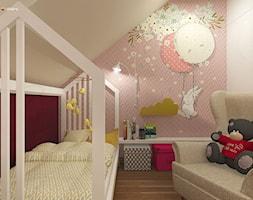 """URODZAJNA - Mały beżowy różowy pokój dziecka dla dziewczynki dla malucha dla nastolatka, styl nowoczesny - zdjęcie od Studio Architektury Wnętrz """"rychtownia"""""""
