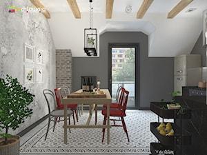 """WEEKENDOWE PODDASZE PRZY UL. SOBIESKIEGO - Średnia otwarta szara jadalnia w kuchni, styl włoski - zdjęcie od Studio Architektury Wnętrz """"rychtownia"""""""