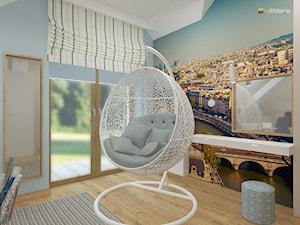 """DOM NA ŚLĄSKU CIESZYŃSKIM - Średni beżowy niebieski kolorowy pokój dziecka dla nastolatka, styl nowoczesny - zdjęcie od Studio Architektury Wnętrz """"rychtownia"""""""