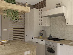 """RETRO - Bujaków - Średnia biała szara kuchnia w kształcie litery l z wyspą, styl rustykalny - zdjęcie od Studio Architektury Wnętrz """"rychtownia"""""""