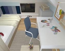 """DOM NA ŚLĄSKU CIESZYŃSKIM - Mały biały niebieski pokój dziecka dla chłopca dla dziewczynki dla ucznia dla malucha dla nastolatka, styl nowoczesny - zdjęcie od Studio Architektury Wnętrz """"rychtownia"""""""