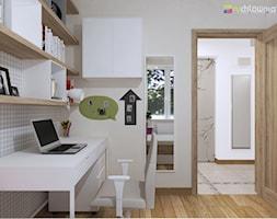 """PASTELOWO - SŁONECZNE TARASY - Mały biały szary pokój dziecka dla chłopca dla dziewczynki dla ucznia dla nastolatka, styl eklektyczny - zdjęcie od Studio Architektury Wnętrz """"rychtownia"""""""