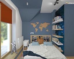 """DOM NA ŚLĄSKU CIESZYŃSKIM - Mały niebieski pokój dziecka dla chłopca dla nastolatka, styl nowoczesny - zdjęcie od Studio Architektury Wnętrz """"rychtownia"""""""