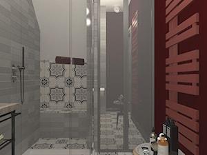 """WEEKENDOWE PODDASZE PRZY UL. SOBIESKIEGO - Średnia czerwona łazienka w bloku w domu jednorodzinnym bez okna, styl włoski - zdjęcie od Studio Architektury Wnętrz """"rychtownia"""""""