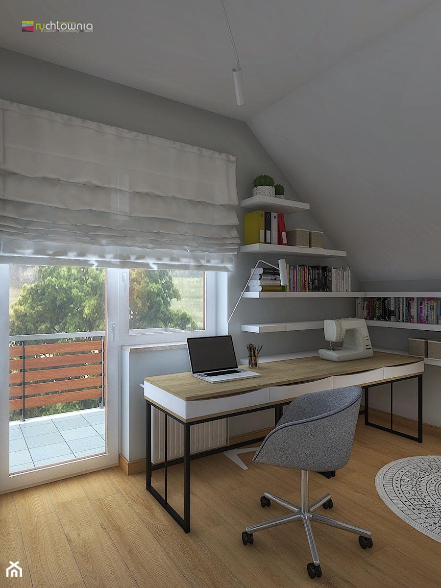 """ODDECH TYŃCA - Średnie białe biuro domowe kącik do pracy w pokoju, styl skandynawski - zdjęcie od Studio Architektury Wnętrz """"rychtownia"""""""