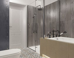 """MAGIA VINTAGE - Średnia biała szara łazienka w bloku w domu jednorodzinnym bez okna, styl vintage - zdjęcie od Studio Architektury Wnętrz """"rychtownia"""""""