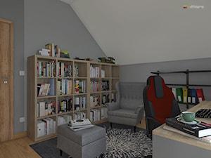 """ODDECH TYŃCA - Średnie szare białe biuro domowe na poddaszu w pokoju, styl skandynawski - zdjęcie od Studio Architektury Wnętrz """"rychtownia"""""""