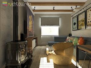 """PATCHWORK HOUSE #1 - Mały szary salon z jadalnią, styl vintage - zdjęcie od Studio Architektury Wnętrz """"rychtownia"""""""