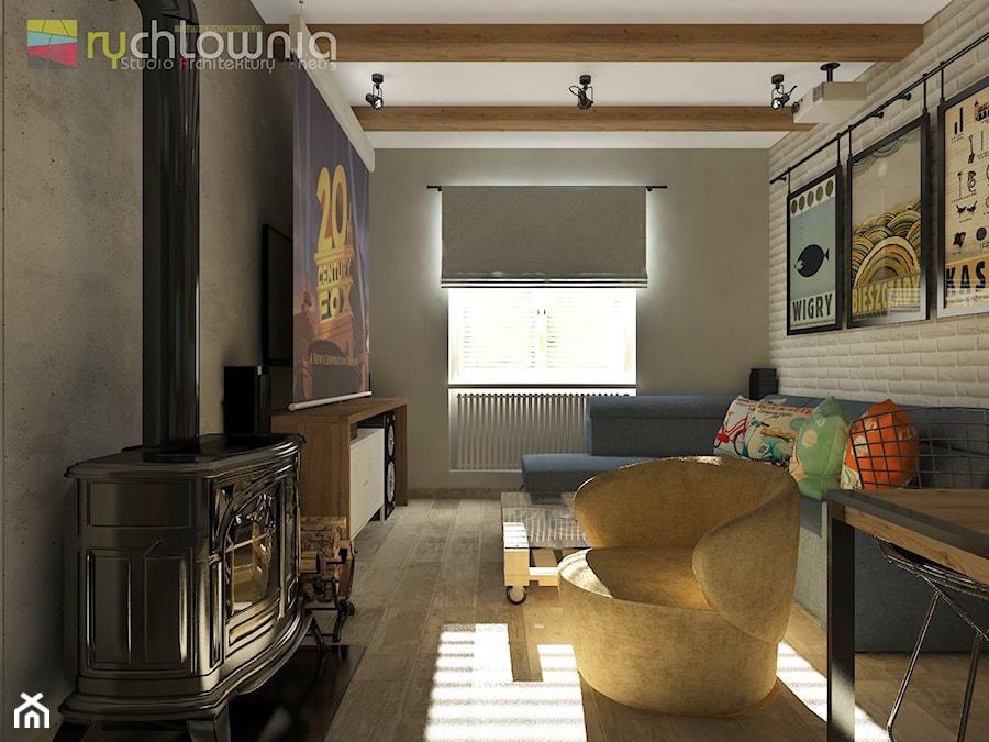 """Aranżacje wnętrz - Salon: PATCHWORK HOUSE #1 - Mały szary salon z jadalnią, styl vintage - Studio Architektury Wnętrz """"rychtownia"""". Przeglądaj, dodawaj i zapisuj najlepsze zdjęcia, pomysły i inspiracje designerskie. W bazie mamy już prawie milion fotografii!"""