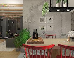 """WEEKENDOWE PODDASZE PRZY UL. SOBIESKIEGO - Średnia otwarta szara jadalnia w salonie, styl włoski - zdjęcie od Studio Architektury Wnętrz """"rychtownia"""""""