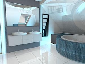 projekt domu w Sidzinie - Średnia biała szara łazienka na poddaszu w domu jednorodzinnym z oknem, styl nowoczesny - zdjęcie od Creative Interior