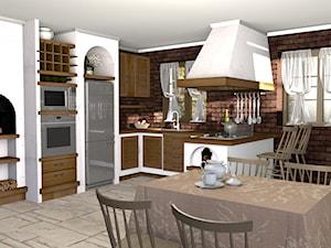 kuchnie murowane - Średnia otwarta biała kuchnia w kształcie litery l w aneksie z oknem, styl tradycyjny - zdjęcie od Creative Interior