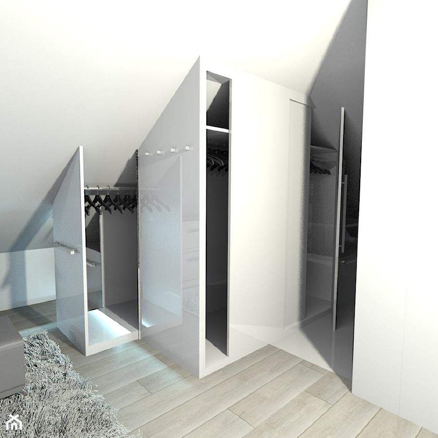 projekt domu w Sidzinie - Mała zamknięta garderoba przy sypialni na poddaszu, styl nowoczesny - zdjęcie od Creative Interior