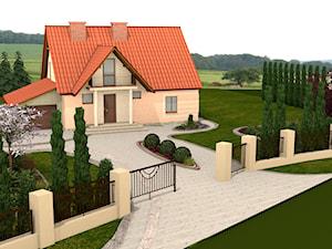 łazienka oraz elewacja domu z ogrodem