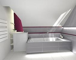 łazienka oraz elewacja domu z ogrodem - Średnia biała fioletowa łazienka na poddaszu z oknem, styl nowoczesny - zdjęcie od Creative Interior