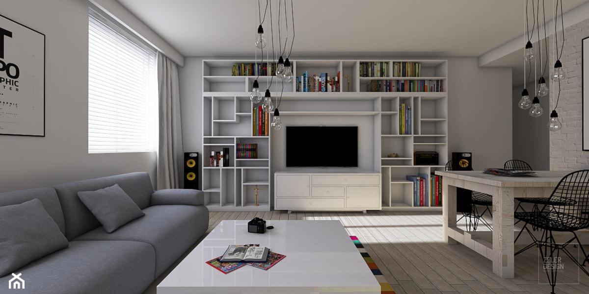 Salon połączony z kuchnią w stylu skandynawskim. - zdjęcie od ZELER-DESIGN - Homebook