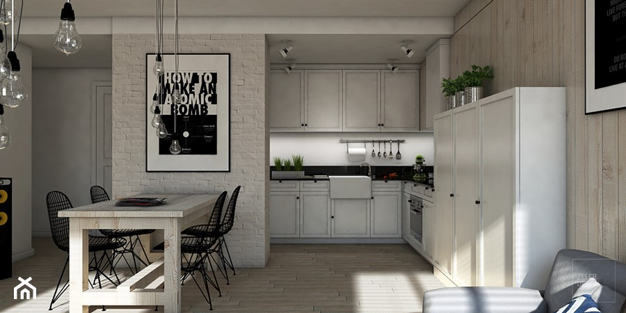 Salon połączony z kuchnią w stylu skandynawskim  zdjęcie od ZELER DESIGN -> Kuchnia W Bloku W Stylu Skandynawskim