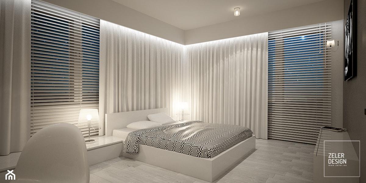 white bedroom - Średnia szara sypialnia małżeńska z balkonem / tarasem, styl nowoczesny - zdjęcie od ZELER-DESIGN - Homebook