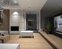 Projekt wnętrza dużego salonu połączonego z kuchnią i jadalnią - zdjęcie od BRAF Design