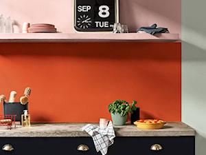 Kolor Roku 2020 - Mała otwarta szara pomarańczowa kuchnia jednorzędowa, styl eklektyczny - zdjęcie od Dulux