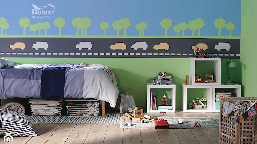 Aranżacje wnętrz - Pokój dziecka: Pokoje dla dzieci i młodzieży - Mały niebieski zielony czarny pokój dziecka dla chłopca dla malucha, styl eklektyczny - Dulux. Przeglądaj, dodawaj i zapisuj najlepsze zdjęcia, pomysły i inspiracje designerskie. W bazie mamy już prawie milion fotografii!