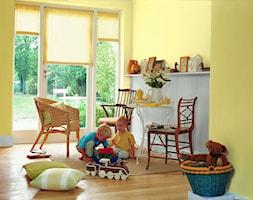 Pokoje dla dzieci i młodzieży - Mały biały żółty pokój dziecka dla chłopca dla dziewczynki dla malucha, styl rustykalny - zdjęcie od Dulux