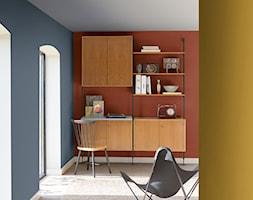Kolor Roku 2017 - Małe szare czerwone biuro kącik do pracy - zdjęcie od Dulux