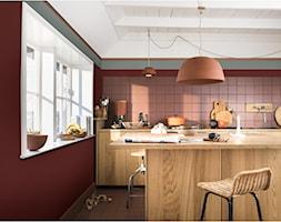 Kolor Roku 2019 - Średnia otwarta pomarańczowa kuchnia jednorzędowa z wyspą z oknem, styl eklektyczny - zdjęcie od Dulux