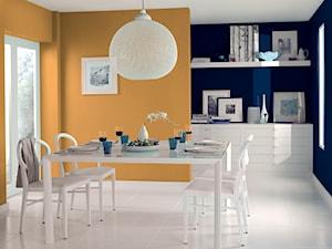 Pokoje dzienne - Średnia zamknięta niebieska pomarańczowa jadalnia jako osobne pomieszczenie - zdjęcie od Dulux