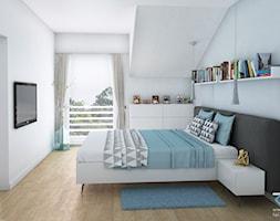 Wnętrze domu w zabudowie szeregowej - Ruda Śląska - Średnia biała niebieska sypialnia małżeńska na p ... - zdjęcie od RESE Architekci Studio Projektowe - Homebook