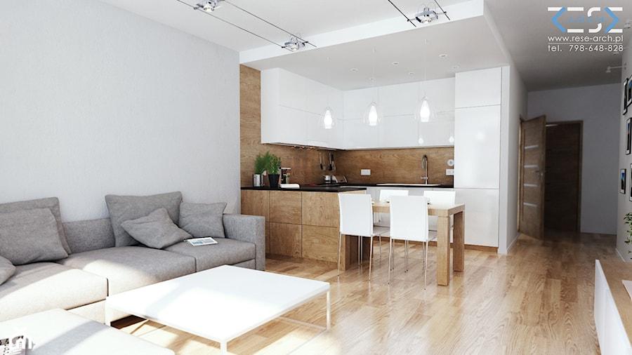 Projekt strefy dziennej i łazienki w mieszkaniu w Chorzowie - Średnia otwarta beżowa szara kuchnia w kształcie litery l w aneksie z wyspą, styl nowoczesny - zdjęcie od RESE Architekci Studio Projektowe