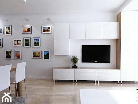 Aranżacje wnętrz - Salon: Projekt strefy dziennej i łazienki w mieszkaniu w Chorzowie - Mały biały salon z jadalnią, styl now ... - RESE Architekci Studio Projektowe. Przeglądaj, dodawaj i zapisuj najlepsze zdjęcia, pomysły i inspiracje designerskie. W bazie mamy już prawie milion fotografii!