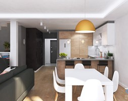 Wnętrze domu w zabudowie szeregowej - Ruda Śląska - Średnia otwarta biała szara jadalnia w kuchni w ... - zdjęcie od RESE Architekci Studio Projektowe - Homebook