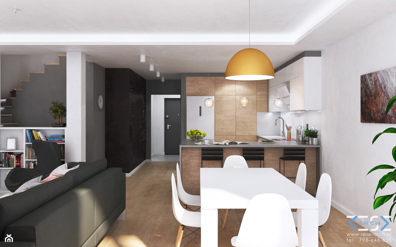Wnętrze domu w zabudowie szeregowej - Ruda Śląska - Średnia otwarta biała szara jadalnia w kuchni w salonie, styl nowoczesny - zdjęcie od RESE Architekci Studio Projektowe - Homebook