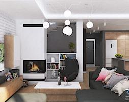 Wnętrze domu w zabudowie szeregowej - Ruda Śląska - Mały biały czarny salon z kuchnią z jadalnią, s ... - zdjęcie od RESE Architekci Studio Projektowe - Homebook