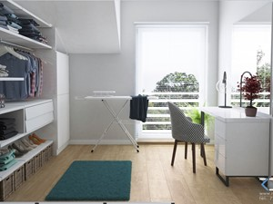 Wnętrze domu w zabudowie szeregowej - Ruda Śląska - Średnia zamknięta garderoba z oknem oddzielne pomieszczenie, styl nowoczesny - zdjęcie od RESE Architekci Studio Projektowe