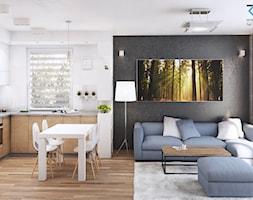 Mieszkanie Katowice osiedle Zielone Panewniki - Mały biały czarny salon z kuchnią z jadalnią, styl ... - zdjęcie od RESE Architekci Studio Projektowe - Homebook