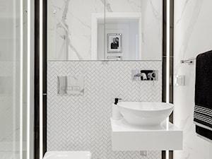 Rama Ledowa - Mała biała szara łazienka bez okna, styl minimalistyczny - zdjęcie od ARCHITETTO