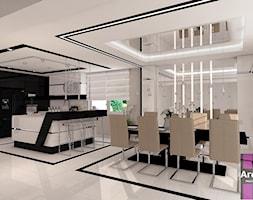 Elegancja z beżem - Duża otwarta szara kuchnia w kształcie litery l z wyspą z oknem, styl glamour - zdjęcie od ARCHITETTO