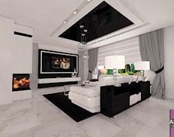 Biel z dodatkiem czerni - Średni biały salon, styl minimalistyczny - zdjęcie od ARCHITETTO