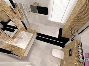 Mała średnia łazienka w bloku w domu jednorodzinnym z oknem, styl glamour - zdjęcie od ARCHITETTO