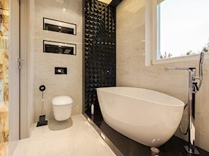 Łazienka z obrazem - Mała beżowa czarna łazienka w domu jednorodzinnym, styl nowoczesny - zdjęcie od ARCHITETTO