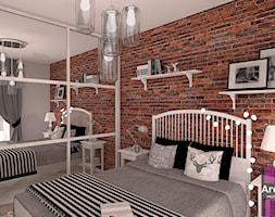 Sypialnia z cegła - Średnia szara brązowa sypialnia małżeńska, styl skandynawski - zdjęcie od ARCHITETTO