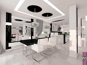 Biel z dodatkiem czerni - Duża otwarta szara jadalnia jako osobne pomieszczenie, styl minimalistyczny - zdjęcie od ARCHITETTO