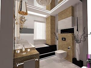 Łazienka w złocie - Mała średnia łazienka w domu jednorodzinnym z oknem, styl glamour - zdjęcie od ARCHITETTO