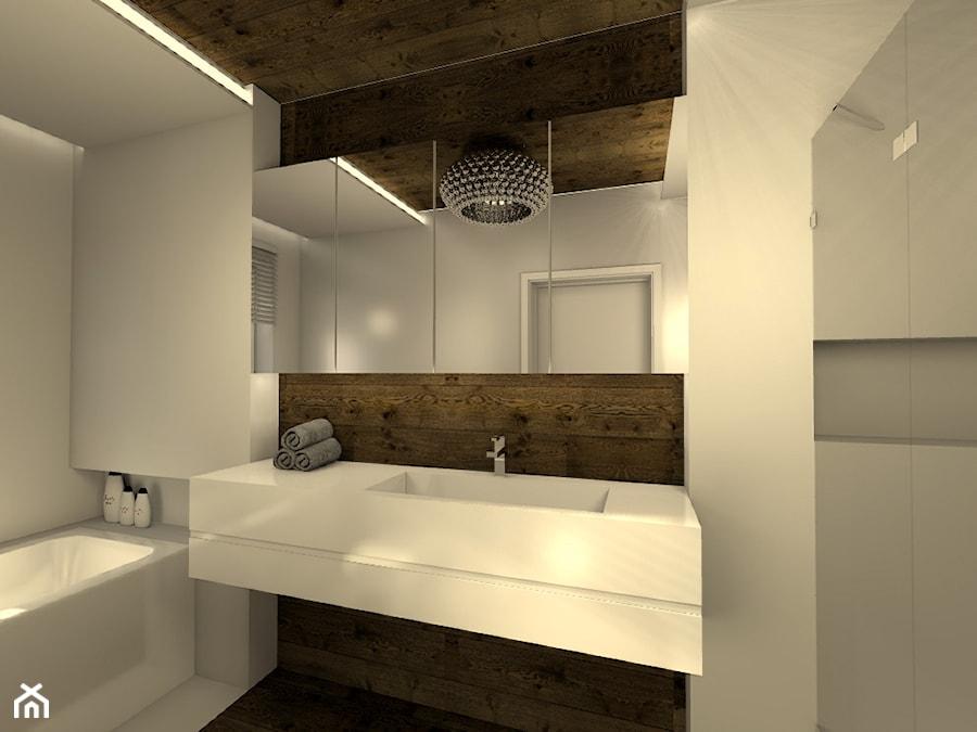 Średnia biała brązowa łazienka w domu jednorodzinnym z oknem, styl nowoczesny - zdjęcie od V PROJEKT projektowanie wnętrz
