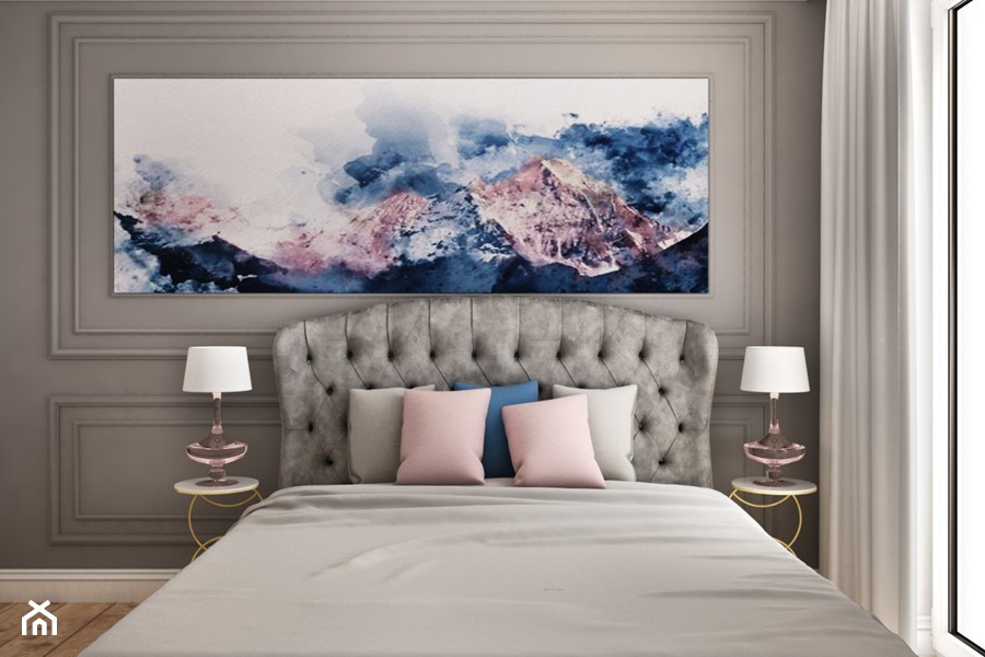 Nad morzem - Mała szara sypialnia małżeńska, styl klasyczny - zdjęcie od Nasciturus design